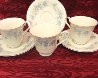 Three Royal Doulton Tea Cups and Saucers in Michelle Fine Bone China