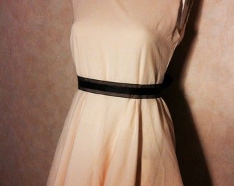 Prom dress beige colour with black ribbon from the 90ies / prom dress beige with black ribbon of the 1990s