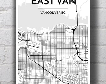 Black & White East Van Neighbourhood Map Print