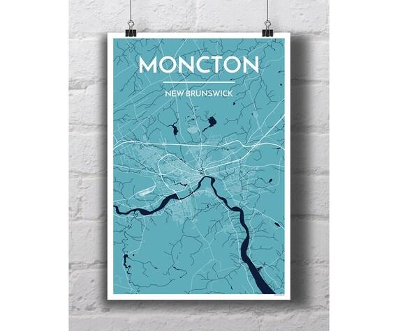 Moncton New Brunswick City Map Print