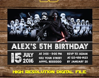 Star Wars Invitation Star Wars Birthday Invitation - Star Wars Birthday Party Invite Galaxy wars Birthday Party - FREE card THANK YOU | M53