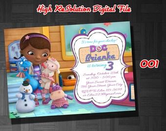 Doc McStuffin Invitation, Doc McStuffins Birthday Invitation, Doc McStuffins, Doc McStuffins Birthday Invite - FREE card THANK YOU | 001