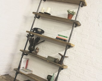 Holmes Bespoke Reclaimed Scaffolding Boards and Dark Steel Pipe Adjustable Shelf Bookcase - made to order furniture by www.urbangrain.co.uk