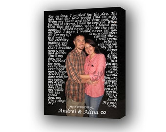 Personalized Canvas Gift, Custom Canvas Lyrics, Vows, Poem, Love Story on Canvas, Special Thanksgiving Gift for Wife, Framed Words on Canvas