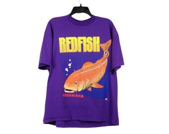 Vintage Redfish Louisiana Purple T-Shirt Large/X-Large FREE Shipping!