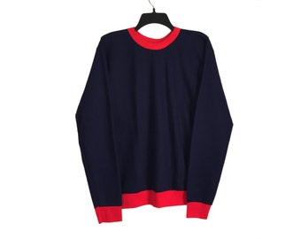 Vintage Navy and Red Ringer Crewneck Sweatshirt Large FREE SHIPPING!