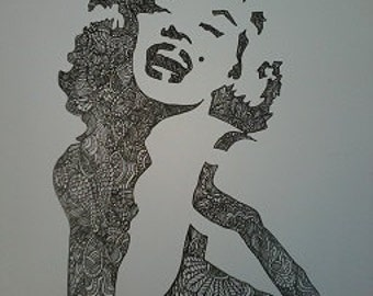 Marilyn Monroe Zentangle A4 Art Print