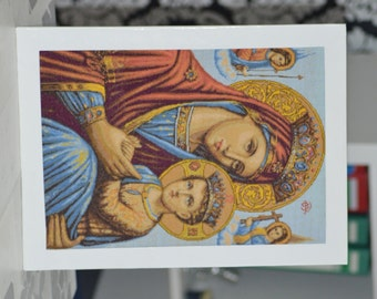 Gobelin,Mother of Jesus,Icon Handmade cross stitch,Madonna and child,Virgin Mary and Baby Jesus