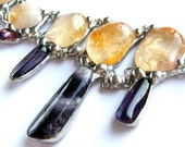 Necklace Royal smaller lemon-violet, amethyst, citrine, Bib Necklace, Statement Necklace, Natural Stone, Boho Necklace,
