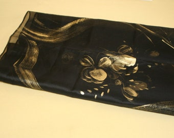 black silk organza scarf with gold paintings