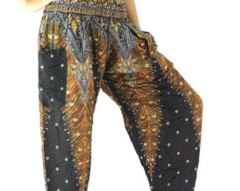 hippie pants hobo pants Harem pants peacock pants Black