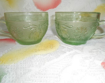 2 Indiana Glass Tea / Coffee Cups in Sandwich Glass -Lt Green (Chantilly Green) by Tiara