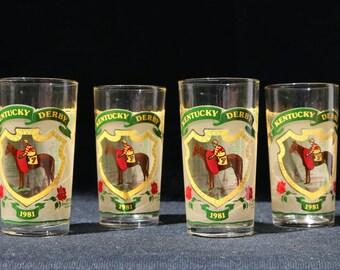 1980 Kentucky Derby Glass set of 4