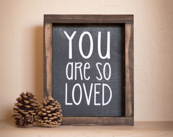 Wood Sign, You are so loved// wooden sign home decor rustic distressed farmhouse