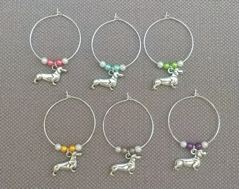 Cute Dachshund Wine Glass Charms Set of 6