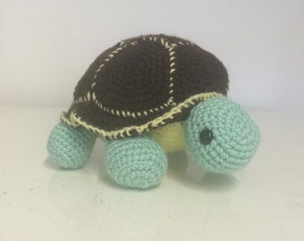 Hand made crochet turtle soft toy