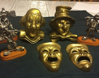 Clown Head Collection 7 statues all made of metal and brass