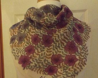 Gorgeous Mary McFadden Scarf, Designer Scarf, Vintage, Square Scarf, Ladies Scarf, Purple n Blue Floral, Ladies Accessory