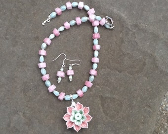 Pink and Green Necklace with Porcelain Flower and Earrings