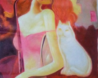 """27"""" x 38"""" Unmounted Canvas Original Oil Painting Pink Woman"""