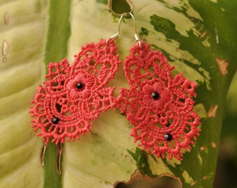 Red Lace earrings with Swarovski Crystals