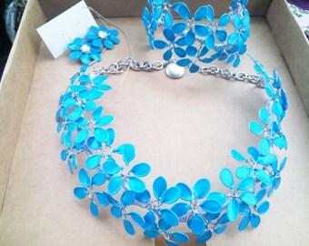 Nailpolish jewelry set, nail polish earrings, nail polish bracellet, nail polish necklace, made to order, gift fot her, nail polish flowers