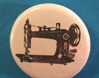 "1"" Pinback Button - Vintage Sewing Machine"