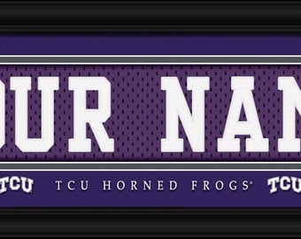 TCU Horned Frogs NCAA Framed Personalized Jersey Nameplate College Sports  Home Decor 22x6 Inches Free Shipping