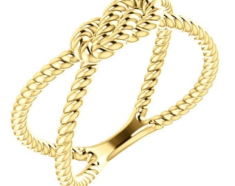 14kt Yellow Gold Rope Knot Ring