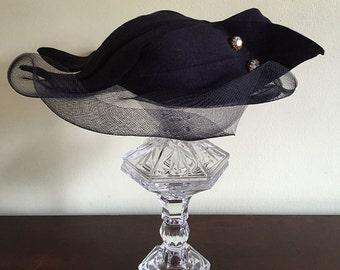 Vintage Fancy Navy Hat with Veil