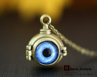 Necklace, evil eye necklace, Bronze pendant necklace
