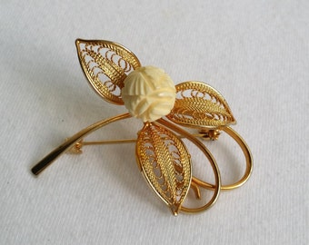 Vintage Gold Tone Filigree Leaves Faux Ivory Carved Celluloid Rose Pin Brooch