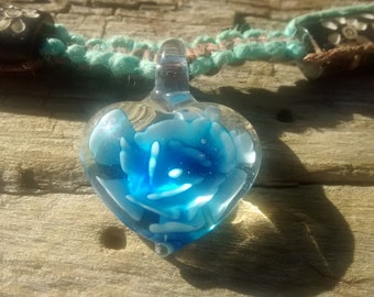 STORE OPENING SALE ~ Summertime Glass Heart Hemp Neklace