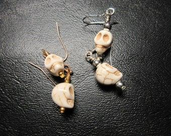 Sale - Halloween Skull Earrings - Howlite