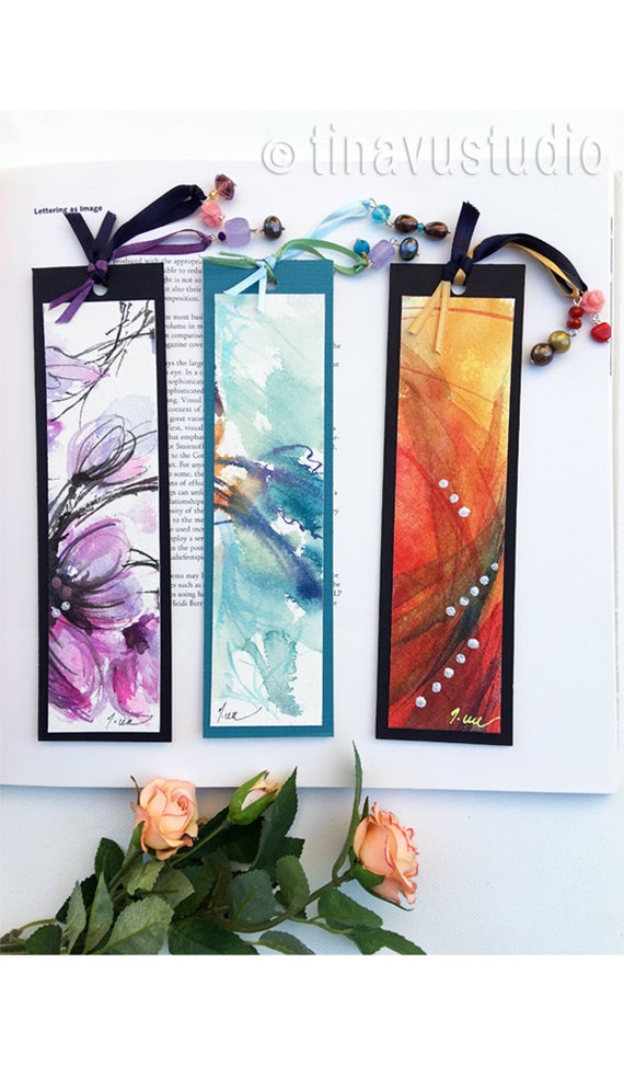 set of 3 handmade bookmarks, unique bookmarks, original watercolor bookmark, book lover gift, abstract watercolors, gifts under 15 dollars