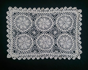 Knitted And Crocheted Lace Vintage Doily. Ecru Knitted Lace Rectangular Doily RBT0191