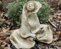 Sacred Feminine Goddess Clay Sculpture, Ragdoll Style, Kiln Fired, Maeve, Celtic Goddess
