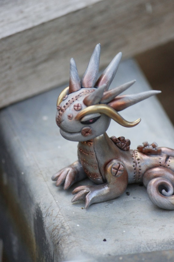 Steampunk Polymer Clay Dragon by OutvoidArts
