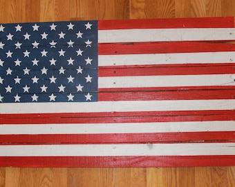 Wooden, Distressed American Flag