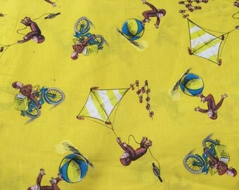 Curious George fabric, monkey fabric, book fabric, yellow fabric, kids fabric, cartoon fabric, cotton fabric