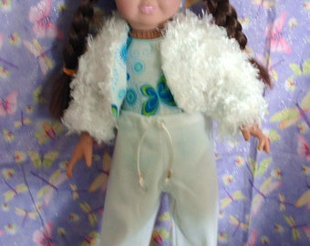 Hip leotard with pants and furry jacket American Girl fashion.