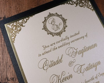 Black And Gold Wedding Invitation, Black And Gold Invitation, Gold Luxury Invitations, Gold Luxury Wedding Invitation, Upscale Invitations