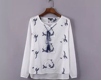 Embroidery Cotton Shirt ,Gypsy tunic,blouse,Bohemian clothing