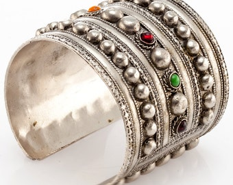 Vintage Silver Cuff with Colored Stones