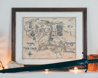 Lord of the Rings Map, Map of Middle Earth: Aged, Handmade, Hand drawn, Authentic Lord of the Rings Gifts