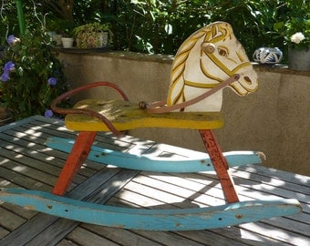 Rocking  wood and iron horse old vintage hand made.