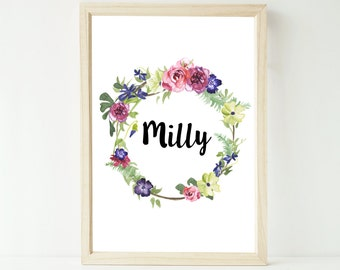 Printable custom watercolour floral wreath name letter or quote personalised artwork large A3