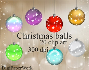 Christmas balls clipart Christmas decoration Clip Art christmas clipart Digital Scrapbooking Elements Personal and Commercial Use
