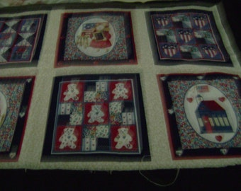 Quilt blocks with calico children and shapes   10 blocks 7 1/2 x 7 1/4.  Adorable soft new