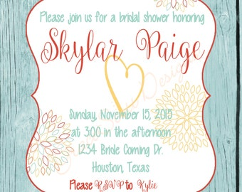 Bridal Shower Invitation, Digital Print, Printable, Personalized